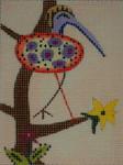 BB63D Peach bird  BB Needlepoint Designs 18 Mesh  3 x 4