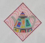 "TP4 Squares Teapot  BB Needlepoint Designs 18 Mesh 5"" sq"