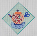 "TP3 Knitting Teapot BB Needlepoint Designs 18 Mesh 5"" sq"