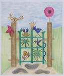 GG1 Whimsy Garden Gate BB Needlepoint Designs  18 Mesh   4x7 With Stitch Guide