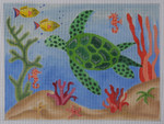 BB58 Sea Turtle BB Needlepoint Designs 18 Mesh 9x11