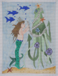 "BB77 Mermaid & Squid  5x7"" BB Needlepoint Designs 18 Mesh"
