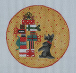 "BBT11 Scottie w/ presents BB Needlepoint Designs 18 Mesh 4"" circle"