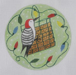 "BH10 Woodpecker ornament  BB Needlepoint Designs 18 Mesh 3"" circle"