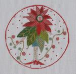 "BBT12 Poinsettia Lady BB Needlepoint Designs 18 Mesh 4"" circle"