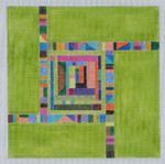 "BB120 Green Sq Geometric BB Needlepoint Designs 18 Mesh 10"" square"