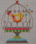 AN125 Bird in cage 8 1/2x 11 1/2 18 Mesh Colors of Praise