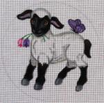 "EA61 Spring Lamb 5"" Round Nenah Stone Designs 18 Mesh"