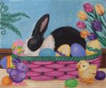 EA78 Easter Rabbit Basket 12x10 Nenah Stone Designs 18 Mesh