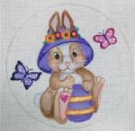 "EA76 Easter Baby Bunny 5"" Round Nenah Stone Designs 18 Mesh"