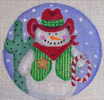 "CH116 Cowboy Snowman 5"" Round Nenah Stone Designs 18 Mesh"