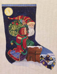 CH83 Cowboy Santa Stocking 22x14 Nenah Stone Designs 18 Mesh