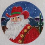 "CH81 Cowboy Santa 6"" Round Nenah Stone Designs 18 Mesh"