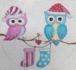 "CH140 Christmas Owl Love 5"" Round Nenah Stone Designs 18 Mesh"