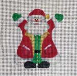 "CH136 Santa Hug 5"" Round Nenah Stone Designs 18 Mesh"
