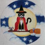 "HW196 Broomstick Cat 5"" Round Nenah Stone Designs 18 Mesh"