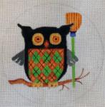 "HW188 Plaid Owl 5"" Round Nenah Stone Designs 18 Mesh"