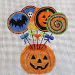 HW146 Pumpkin Lollipops 5 x 5 Nenah Stone Designs 18 Mesh