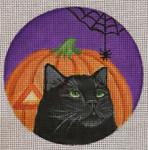 """HW176 Pumpkin Spiderweb 5"""" Round Nenah Stone Designs 18 Mesh"""