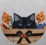 "HW167 Halloween Kitty Basket 6"" Round Nenah Stone Designs 18 Mesh"