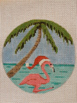 2205 18 Mesh Santa Hat Flamingo 4 x 4 Purple Palm