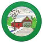 "BAG67G Silver Needle 5.25"" Rnd Ornament/Coaster- Green  w/ Magnet & Plastic Cover"