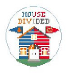 BT270G House Divided Blackhawks/Oilers  4 diameter Kathy Schenkel Designs