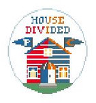 "BT269H House Divided Patriots/Bears Kathy Schenkel Designs 4"" Diameter"