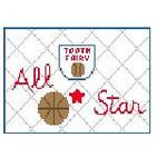 PT207 Basketball Tooth Fairy Pillow Kathy Schenkel Designs 6 x 4
