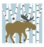 PW128 Moose in Birch Trees Pillow Kathy Schenkel Designs 13ct 8 x 8