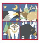 PW135 Northwest Animals Pillow Kathy Schenkel Designs 13ct 8 x 8