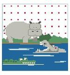 PW163 Hippos Pillow Kathy Schenkel Designs 13ct 8 x 8