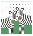 PW161 Two Zebras Pillow Kathy Schenkel Designs 13ct 8 x 8