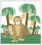 PW182 Monkeys Kathy Schenkel Designs 13ct 8 x 8