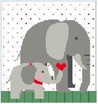 PW181 Elephants Kathy Schenkel Designs 13ct 8 x 8