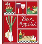 SA122 Bon Appetite Sampler Kathy Schenkel Designs 8 x 10