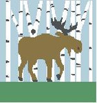 PW403 Moose in Birch Trees Kathy Schenkel Designs 13ct 10 x 10