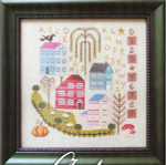 AUTUMN IN THE VILLAGE 126w x 135h Cottage Garden Samplings