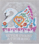 Twelve Days Of Christmas: Seven Swans A-Swimming 99w x 110h Cottage Garden Samplings