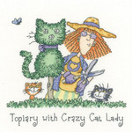 HCK1301A Heritage Crafts Topiary with Crazy Cat Lady - Cats Rule by Peter Underhill;