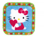 PNV153808 Vervaco Kit Hello Kitty Heart Latch Hook Rug