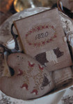 15-1339 Prized Pig Sewing Book & FLOWER URN PINKEEP Sewing Book: 70w x 91h, Pinkeep: 65w x 74h Stacy Nash Primitives