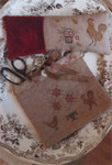 15-1342 Spotted Chickens Sewing Bag 108w x 72h Stacy Nash Primitives