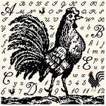 BF209 Toile Rooster Birds Of A Feather