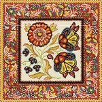 BF718 Peasant Print Red Birds Of A Feather