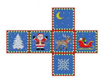 "0202-18 Santa, Sleigh, Reindeer & Tree, cube ornament #18 2 3/4"" cube Susan Roberts Needlepoint"