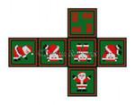 "0206-18 Tumbling Santas, cube ornament #18 Mesh  2 3/4"" cube Susan Roberts Needlepoint"
