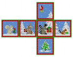 "0210-18 Forest Animals w/Presents, cube ornament #18 Mesh 2 3/4"" cube Susan Roberts Needlepoint"