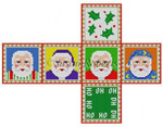 "0215-18 Santa Faces, cube ornament #18 Mesh  2 3/4"" cube Susan Roberts Needlepoint"