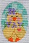 CH-165 Checkered Chick Egg 2 ¼ x 3 ¼ 18 Mesh Danji Designs CH Designs